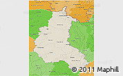 Shaded Relief 3D Map of Champagne-Ardenne, political shades outside