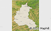 Shaded Relief 3D Map of Champagne-Ardenne, satellite outside
