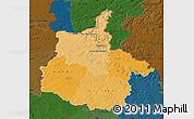Political Shades Map of Ardennes, darken
