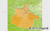 Political Shades Map of Ardennes, physical outside