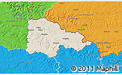 Shaded Relief 3D Map of Sedan, political outside