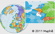 Political Location Map of Sedan, highlighted grandparent region
