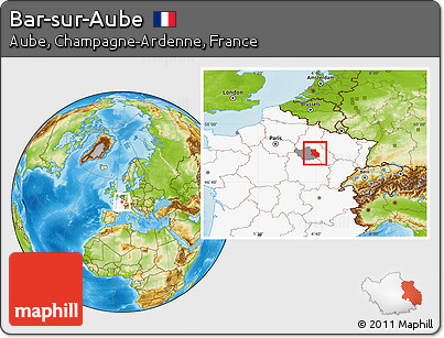 free physical location map of bar sur aube highlighted country highlighted parent region. Black Bedroom Furniture Sets. Home Design Ideas