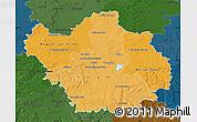 Political Shades Map of Aube, darken