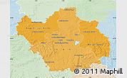 Political Shades Map of Aube, lighten