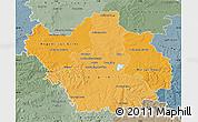Political Shades Map of Aube, semi-desaturated