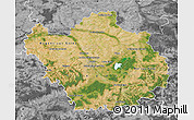 Satellite Map of Aube, desaturated