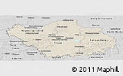 Shaded Relief Panoramic Map of Aube, desaturated