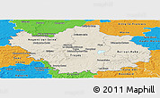 Shaded Relief Panoramic Map of Aube, political outside