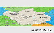 Shaded Relief Panoramic Map of Aube, political shades outside