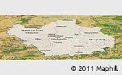 Shaded Relief Panoramic Map of Aube, satellite outside
