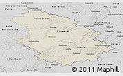 Shaded Relief Panoramic Map of Haute-Marne, desaturated
