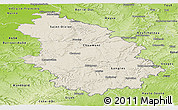 Shaded Relief Panoramic Map of Haute-Marne, physical outside
