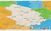 Shaded Relief Panoramic Map of Haute-Marne, political shades outside