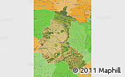 Satellite Map of Champagne-Ardenne, political shades outside