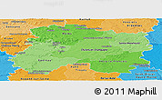 Political Shades Panoramic Map of Marne
