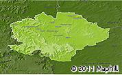 Physical 3D Map of Reims, darken