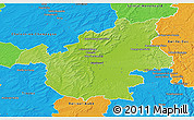Physical 3D Map of Vitry-le-François, political outside