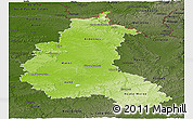 Physical Panoramic Map of Champagne-Ardenne, darken