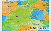 Physical Panoramic Map of Champagne-Ardenne, political outside