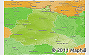 Physical Panoramic Map of Champagne-Ardenne, political shades outside