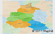 Political Panoramic Map of Champagne-Ardenne, lighten