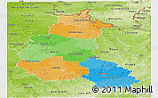 Political Panoramic Map of Champagne-Ardenne, physical outside