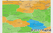 Political Panoramic Map of Champagne-Ardenne, political shades outside