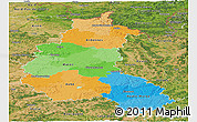 Political Panoramic Map of Champagne-Ardenne, satellite outside