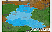 Political Shades Panoramic Map of Champagne-Ardenne, darken