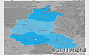 Political Shades Panoramic Map of Champagne-Ardenne, desaturated