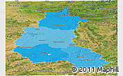 Political Shades Panoramic Map of Champagne-Ardenne, satellite outside