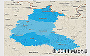 Political Shades Panoramic Map of Champagne-Ardenne, shaded relief outside