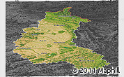 Satellite Panoramic Map of Champagne-Ardenne, darken, desaturated