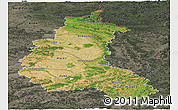 Satellite Panoramic Map of Champagne-Ardenne, darken, semi-desaturated