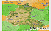 Satellite Panoramic Map of Champagne-Ardenne, political shades outside