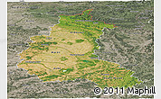 Satellite Panoramic Map of Champagne-Ardenne, semi-desaturated