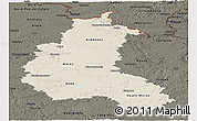 Shaded Relief Panoramic Map of Champagne-Ardenne, darken