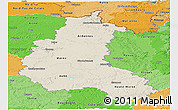 Shaded Relief Panoramic Map of Champagne-Ardenne, political shades outside