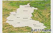 Shaded Relief Panoramic Map of Champagne-Ardenne, satellite outside