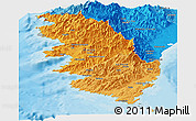 Political Shades Panoramic Map of Corse-du-Sud