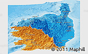 Political Shades Panoramic Map of Haute-Corse