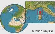 Satellite Location Map of Corse