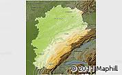 Physical 3D Map of Franche-Comté, darken