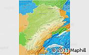 Physical 3D Map of Franche-Comté, political outside