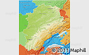 Physical 3D Map of Franche-Comté, political shades outside
