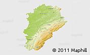 Physical 3D Map of Franche-Comté, single color outside