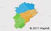Political 3D Map of Franche-Comté, cropped outside
