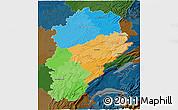 Political 3D Map of Franche-Comté, darken