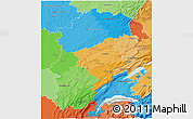 Political 3D Map of Franche-Comté, political shades outside